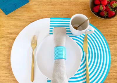 Stripes and solids lacquer placemat white turquoise