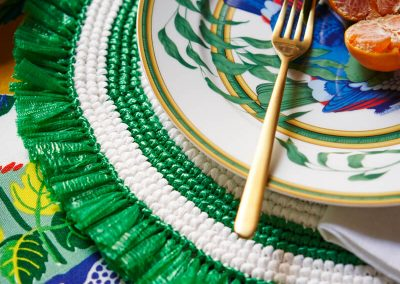Green and white fringe placemat
