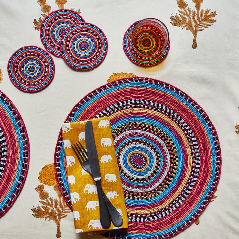 Maasai multi beaded placemat