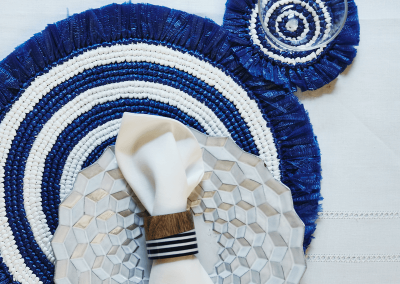 Navy and white fringe placemat