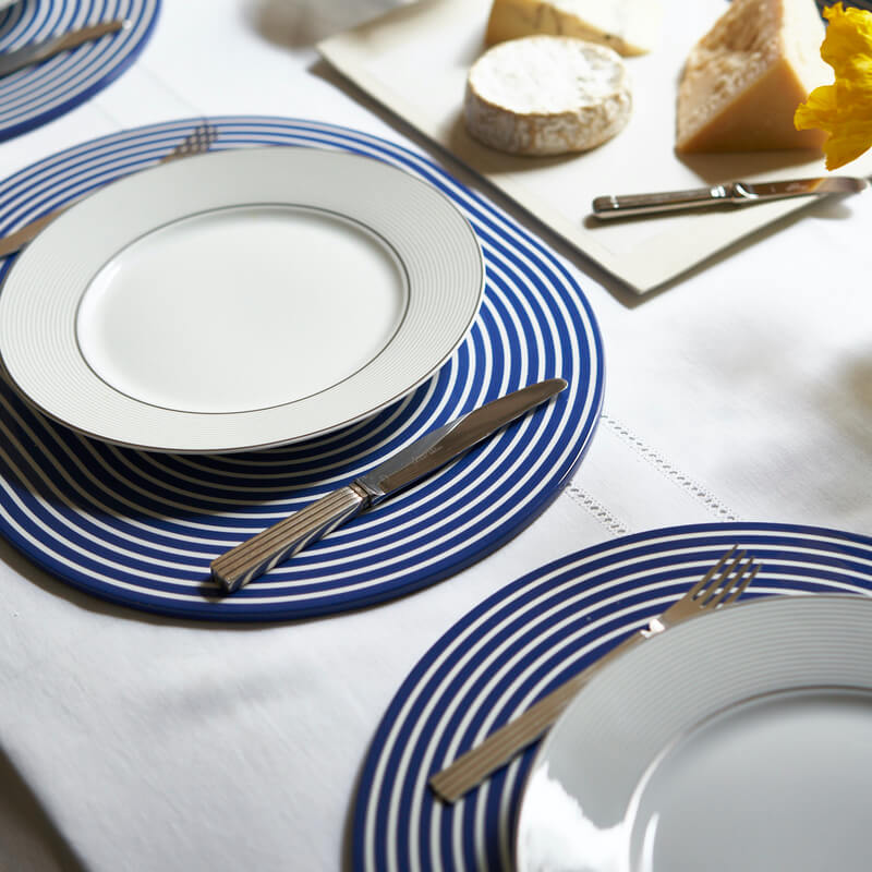 Navy and white lacquer stripe placemat
