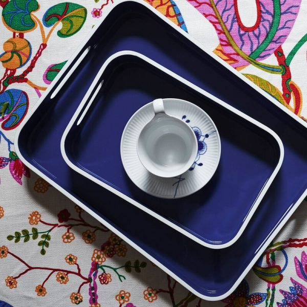 Navy and white lacquer tray