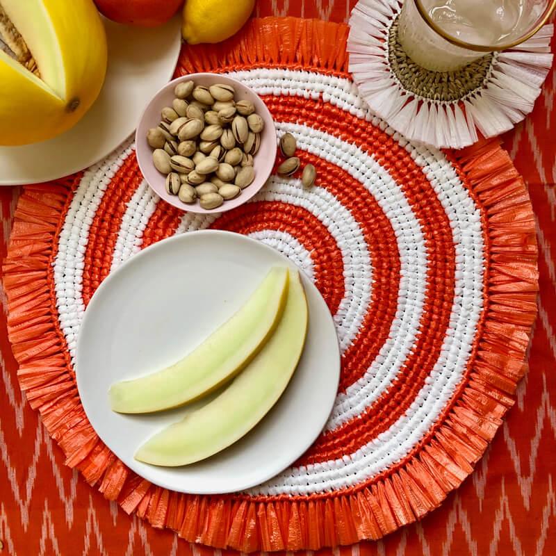 Orange and white fringe placemat