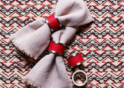 Red Zinc and Leather Napkin Rings