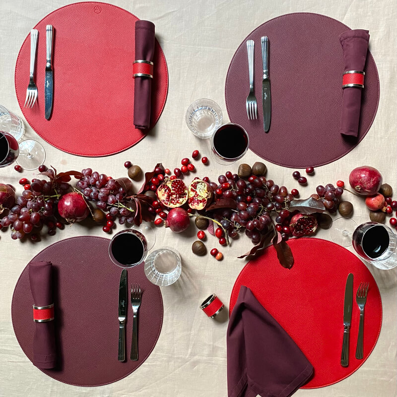 Red and Burgundy Reversible Placemats